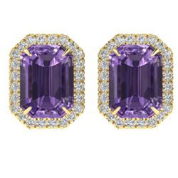 9.40 ctw Amethyst & Micro Pave VS/SI Diamond Earrings 18k Yellow Gold
