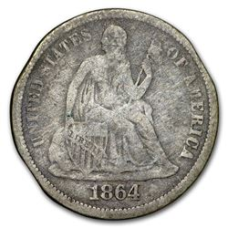 1864-S Liberty Seated Dime Fine (Details)
