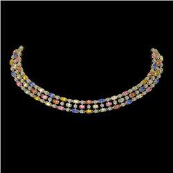 61.73 ctw Multi Color Sapphire & Diamond Necklace 10K Yellow Gold