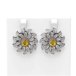 5.37 ctw Canary Citrine & Diamond Earrings 18K White Gold
