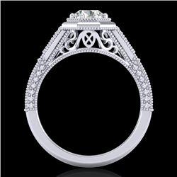 0.84 ctw VS/SI Diamond Solitaire Art Deco Ring 18k White Gold