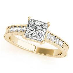 0.95 ctw Certified VS/SI Princess Diamond Antique Ring 18k Yellow Gold
