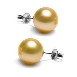 Golden South Sea Pearl Stud Earrings, 11.0-12.0mm