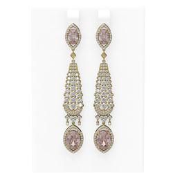 9.72 ctw Morganite & Diamond Earrings 18K Yellow Gold