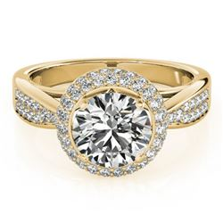 2.15 ctw Certified VS/SI Diamond Solitaire Halo Ring 14k Yellow Gold