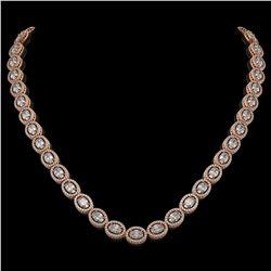 30.41 ctw Oval Cut Diamond Micro Pave Necklace 18K Rose Gold