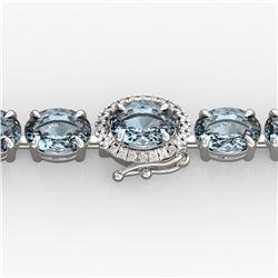 15.25 ctw Aquamarine & Diamond Eternity Micro Bracelet 14k White Gold