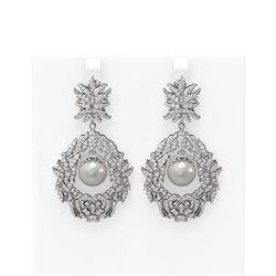 5.22 ctw Diamond & Pearl Earrings 18K White Gold