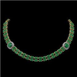 43.97 ctw Emerald & Diamond Necklace 14K Yellow Gold