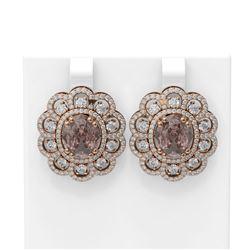 11.61 ctw Morganite & Diamond Earrings 18K Rose Gold