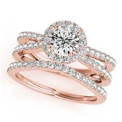 1.63 ctw Certified VS/SI Diamond 2pc Wedding Set Halo 14k Rose Gold