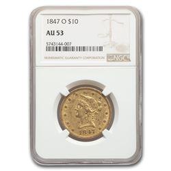 1847-O $10 Liberty Gold Eagle AU-53 NGC