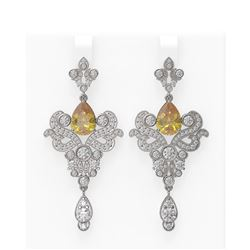 9.9 ctw Canary Citrine & Diamond Earrings 18K White Gold