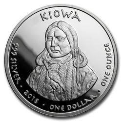 2018 1 oz Silver Proof State Dollars Kiowa Wyoming Horned Lizard