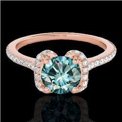 1.33 ctw SI Certified Fancy Blue Diamond Halo Ring 10k Rose Gold