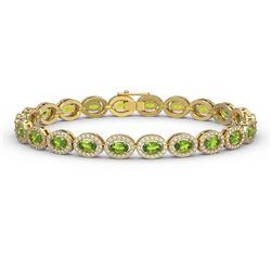 10.67 ctw Peridot & Diamond Micro Pave Halo Bracelet 10k Yellow Gold