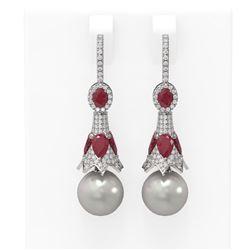 6.8 ctw Ruby & Diamond Earrings 18K White Gold