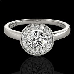 1.15 ctw Certified Diamond Solitaire Halo Ring 10k White Gold