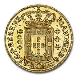 1810 Brazil Gold 4000 Reis MS-64 NGC