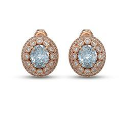 7.24 ctw Aquamarine & Diamond Victorian Earrings 14K Rose Gold