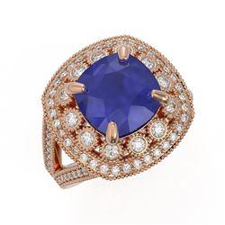 6.47 ctw Certified Sapphire & Diamond Victorian Ring 14K Rose Gold