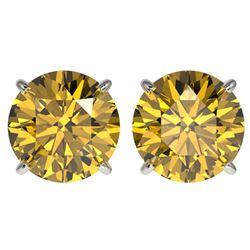 4 ctw Certified Intense Yellow Diamond Stud Earrings 10k White Gold