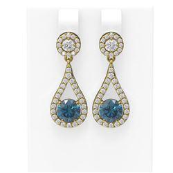 3.54 ctw Intense Blue Diamond Earrings 18K Yellow Gold