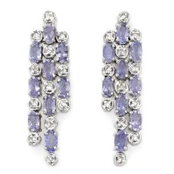 4.33 ctw Tanzanite & Diamond Earrings 14k White Gold