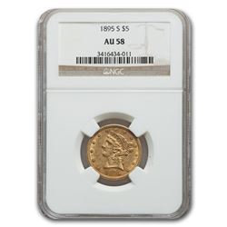 1895-S $5 Liberty Gold Half Eagle AU-58 NGC