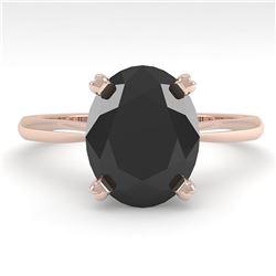 5.0 ctw Oval Black Diamond Engagment Designer Ring 14k Rose Gold