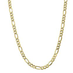 10k Yellow Gold 7.3 mm Semi-Solid Figaro Chain - 22 in.