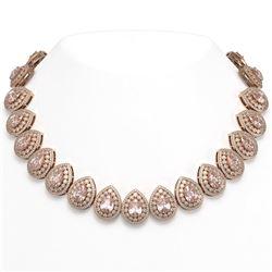 103.22 ctw Morganite & Diamond Victorian Necklace 14K Rose Gold