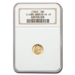 1849 $1 Liberty Gold Small Head Closed Wreath MS-63 NGC