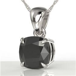 3 ctw Cushion Cut Black Diamond Designer Necklace 18k White Gold