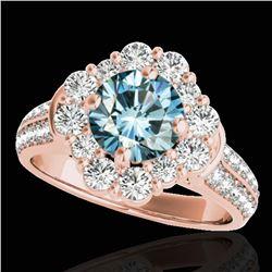 2.81 ctw SI Certified Fancy Blue Diamond Halo Ring 10k Rose Gold