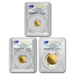2012 Australia 3-Coin Gold Kangaroo Set PF-70 PCGS FS