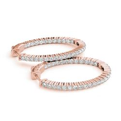 2.25 ctw Diamond VS/SI 33 MM Hoop Earrings 14k Rose Gold