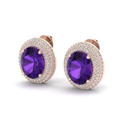 8 ctw Amethyst & Micro Pave VS/SI Diamond Earrings 14k Rose Gold