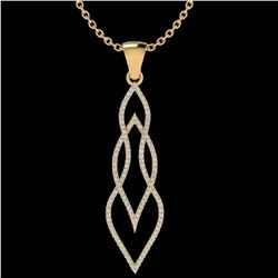 0.80 ctw Micro Pave VS/SI Diamond Certified Necklace 14k Yellow Gold