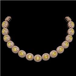 89.35 ctw Canary Citrine & Diamond Victorian Necklace 14K Rose Gold