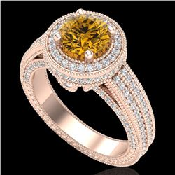 2.8 ctw Intense Fancy Yellow Diamond Art Deco Ring 18k Rose Gold