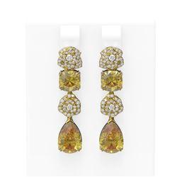 9.7 ctw Canary Citrine & Diamond Earrings 18K Yellow Gold