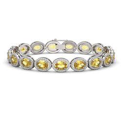 20.36 ctw Fancy Citrine & Diamond Micro Pave Halo Bracelet 10k White Gold