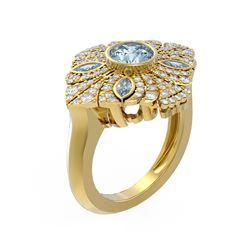 2.32 ctw Aquamarine & Diamond Ring 18K Yellow Gold