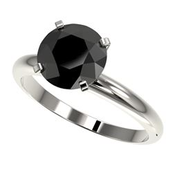 2.50 ctw Fancy Black Diamond Solitaire Engagment Ring 10k White Gold