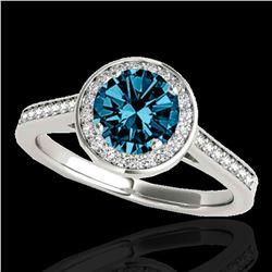 1.93 ctw SI Certified Fancy Blue Diamond Halo Ring 10k White Gold