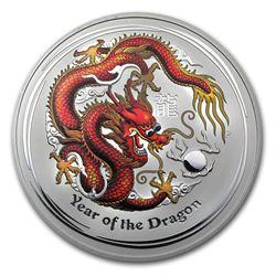 2012 Australia 1 kilo Silver Year of the Dragon BU (Colorized)