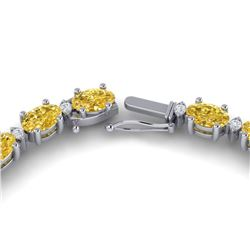 28 ctw Citrine & VS/SI Diamond Certified Eternity Necklace 10k White Gold