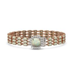 24.2 ctw Opal & Diamond Bracelet 14K Rose Gold