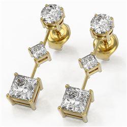 1.85 ctw Princess Cut Diamond Designer Earrings 18K Yellow Gold